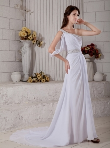 One Shoulder Court Train Chiffon Beading Wedding Dress