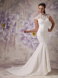 Mermaid High Neck Court Train Lace Beading Wedding Dress