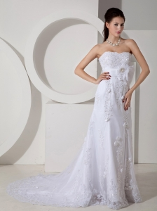 Strapless Brush Train Wedding Gown Satin Belt and Lace