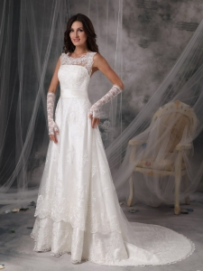 Square A-Line / Princess Court Train Taffeta Lace Wedding Dress