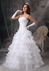 Princess Sweetheart Organza Ruffles Wedding Dress