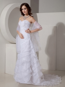 Column / Sheath Sweetheart Organza Appliques Wedding Dress