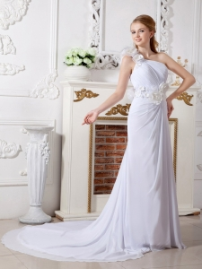 One Shoulder Chapel Train Hand Made Flowers Wedding Dress
