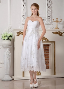 Wedding Gown Empire Sweetheart Tea-length Lace Appliques