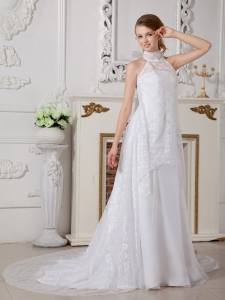 A-line High-neck Court Train Lace Bowknot Wedding Dress