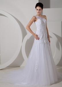 A-line Strapless Court Train Chiffon Appliques Wedding Dress