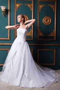 A-line Strapless Chapel Train Organza Beading Bridal Gown