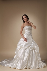 Wedding Dress Strapless Court Train Taffeta Beading and Pick-ups