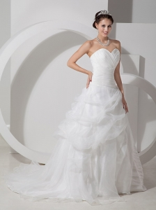 White Mermaid Strapless Tea-length Ruch Wedding Dress
