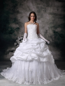 Ball Gown Strapless Brush Train Lace Wedding Dress