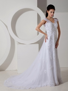 White V-neck Brush Train Satin Beading Wedding Dress