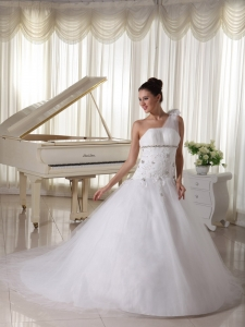 One Shoulder Wedding Gown Beading Tulle Watteau Train