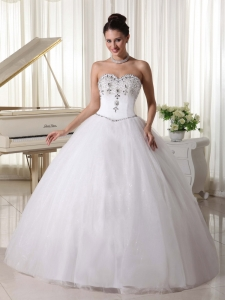 Organza Ball Gown Beaded Bridal Gown Sweetheart Rhinestones
