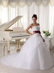 Organza Train Train Beautiful Weding Dress Belt and Beaded