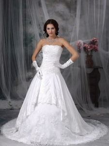 Column Halter Court Train Lace Ruch Wedding Dress