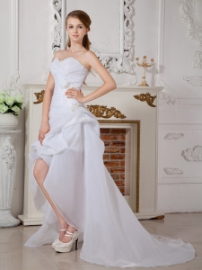 Asymmetrical Wedding Dress Sweetheart High-low Organza