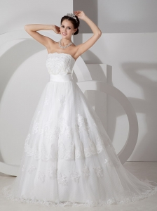One Shoulder A-line Court Train Tulle Lace Wedding Dress
