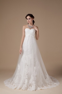 A-line Wedding Gown Sweetheart BrushTrain Lace