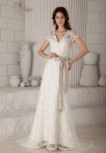 Column / Sheath V-neck Brush Train Lace Bow Wedding Dress