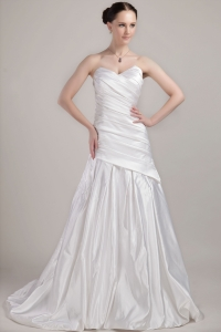 Mermaid Strapless Brush Train Lace Sash Wedding Dress