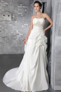 Empire Strapless Special Fabric Belt Wedding Dress
