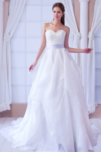 Sweetheart Court Train Bridal Gown Organza Appliques