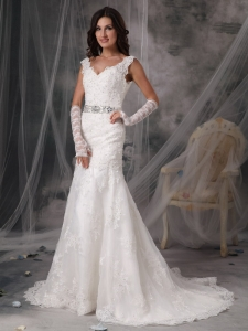 V-Neck Court Train Organza Appliques Wedding Bridal Gown