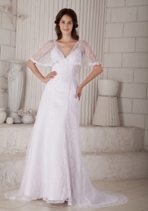 Column / Sheath V-neck Court Train Lace Wedding Dress