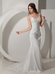 A-line Strapless Court Train Taffeta Beading Wedding Dress