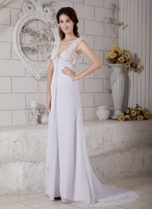 Empire V-neck Brush Train Chiffon Lace Wedding Dress