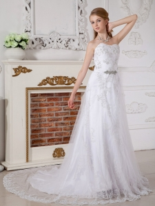 Wedding Dress Empire Sweetheart Court Train Lace Beading