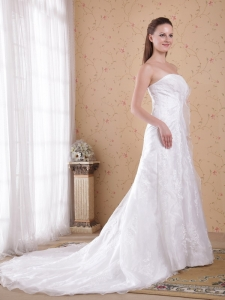 Strapless Court Train Organza and Satin Beading Wedding Dress