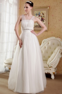 A-line Sweetheart Brush Train Organza Wedding Dress