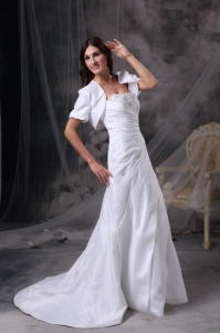Wedding Dress Strapless Court Train Appliques and Ruch