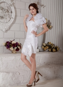 Sweetheart Mini-length Taffeta and Organza Ruch Cocktail Dress