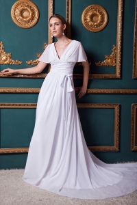 White Empire V-neck Court Train Chiffon Appliques Wedding Gown