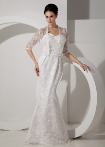 Best Column Sweetheart Floor-length Lace Belt Wedding Gown