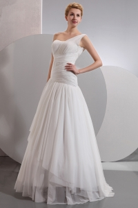 One Shoulder A-line Floor-length Chiffon Ruch Bridal Gown