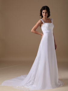 Beautiful Square A-line Court Train Chiffon Lace Bridal Gown