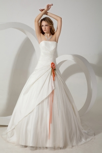 Strapless Brush Train Taffeta Hand Made Flower Wedding Dress