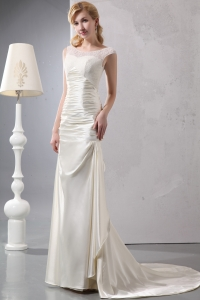 Beautiful Column Scoop Court Train Satin Lace Wedding Gown