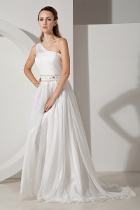 One Shoulder Court Train Organza Beading Wedding Dress