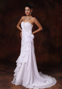 Chiffon Beading Brush / Sweep A-Line Sweetheart Wedding Gown