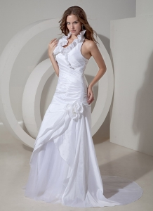 Halter A-line Court Train Taffeta Hand Made Flowers Wedding Dress