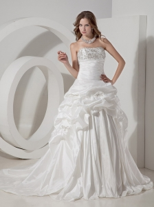 Halter Court Train Taffeta Hand Made Flowers Wedding Dress
