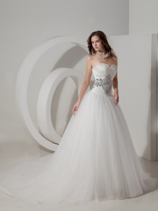 Sweetheart Chapel Train Taffeta and Organza Beading Wedding Dress