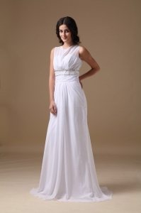 Elegant Column Scoop Brush Train Chiffon Beading Wedding Gown