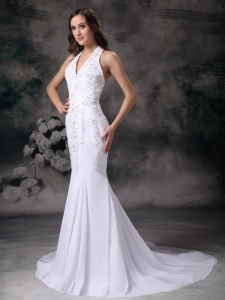 Mermaid Halter Chiffon Embroidery with Beading Bridal Gown