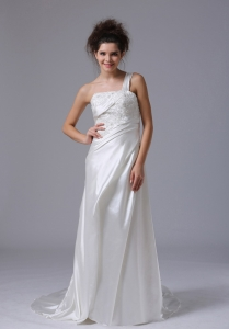 Elegant One Shoulder Column Beading Taffeta Court Train Bridal Gown