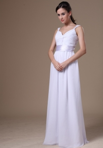 Empire Straps Floor-length Wedding Dress With Belt for Beach Wedding